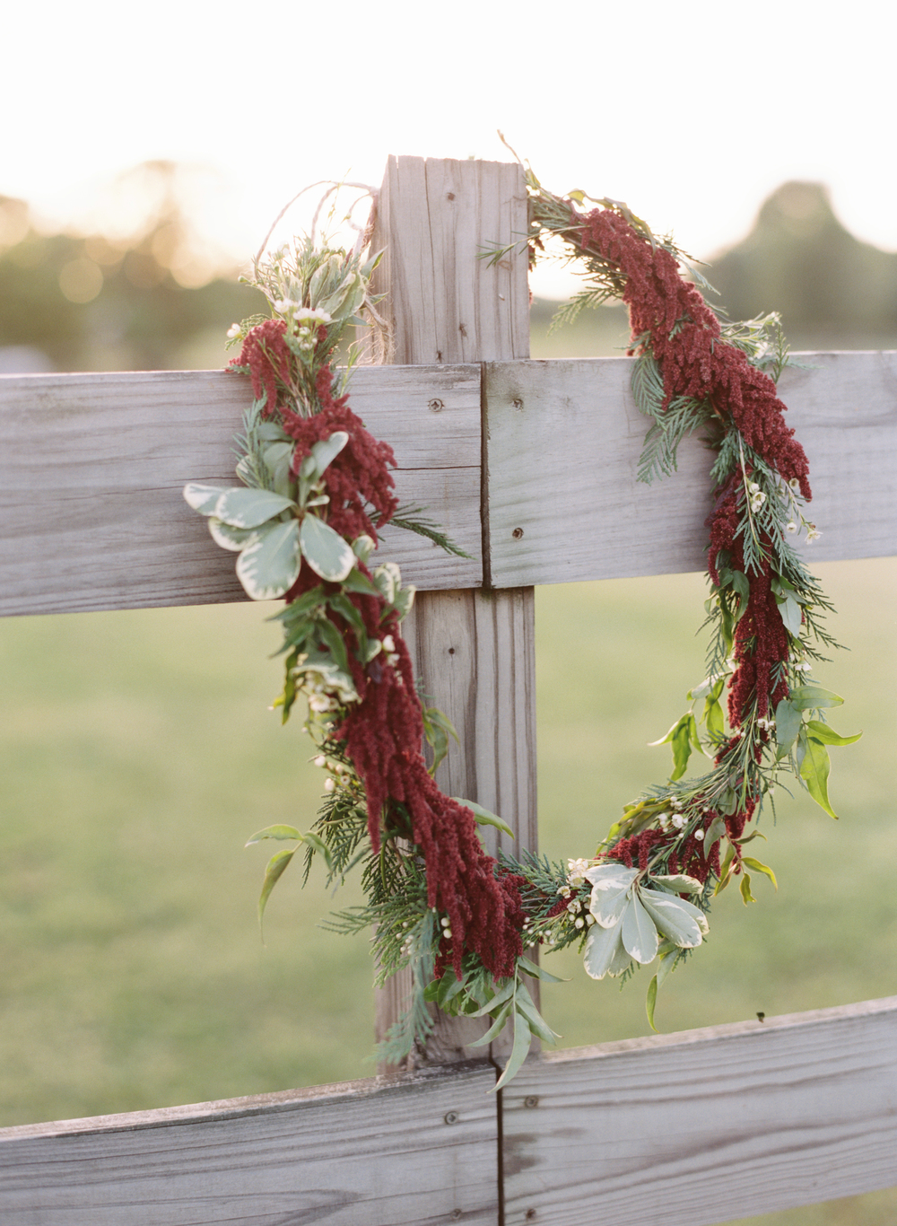 Red amaranthus wreath