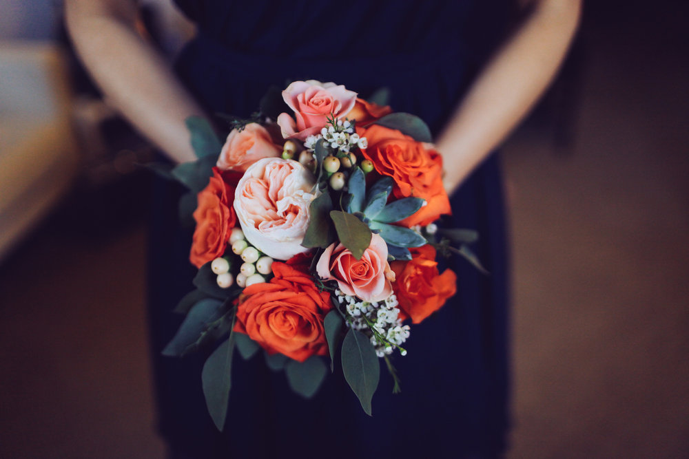 Coral, Salmon, and Peach Bridesmaid Bouquet
