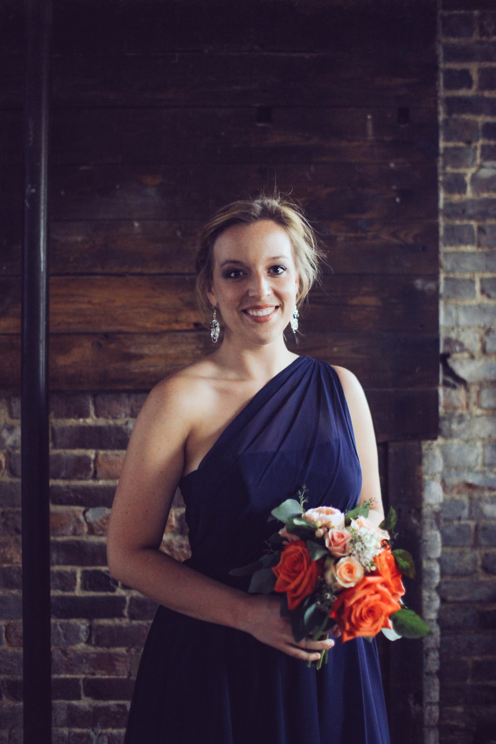 Navy Bridesmaid Dress with Coral Flowers // Nashville Wedding