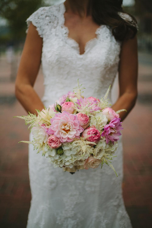Pink and Cream Bridal Bouquet // War Memorial, Nashville, TN Wedding Flowers