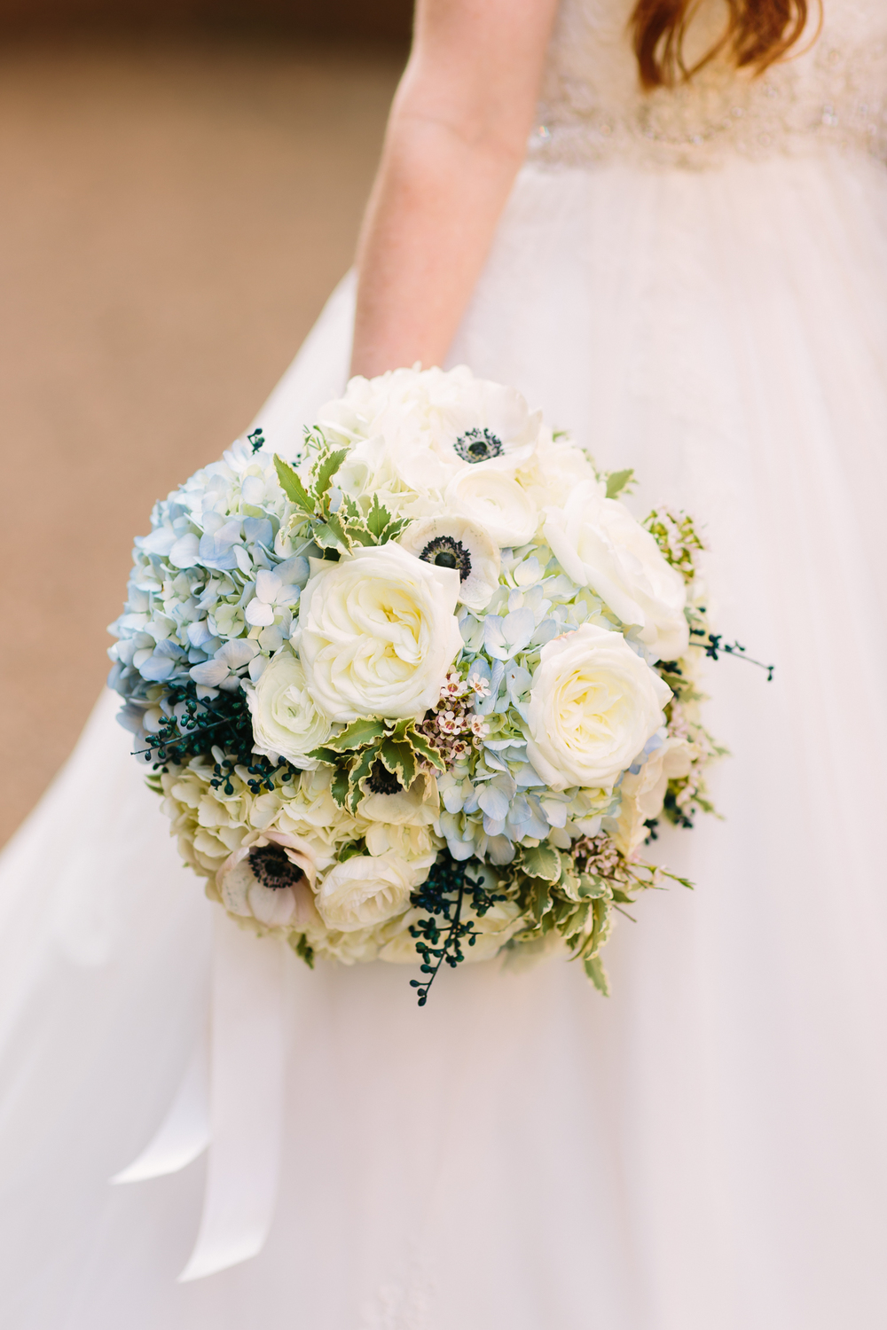 Blue and white hydrangea and anemone bridal bouquet // Nashville Wedding Flowers