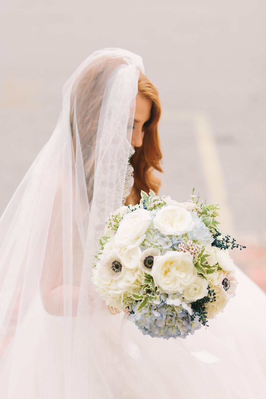 Hydrangea, garden rose, and anemone bridal bouquet