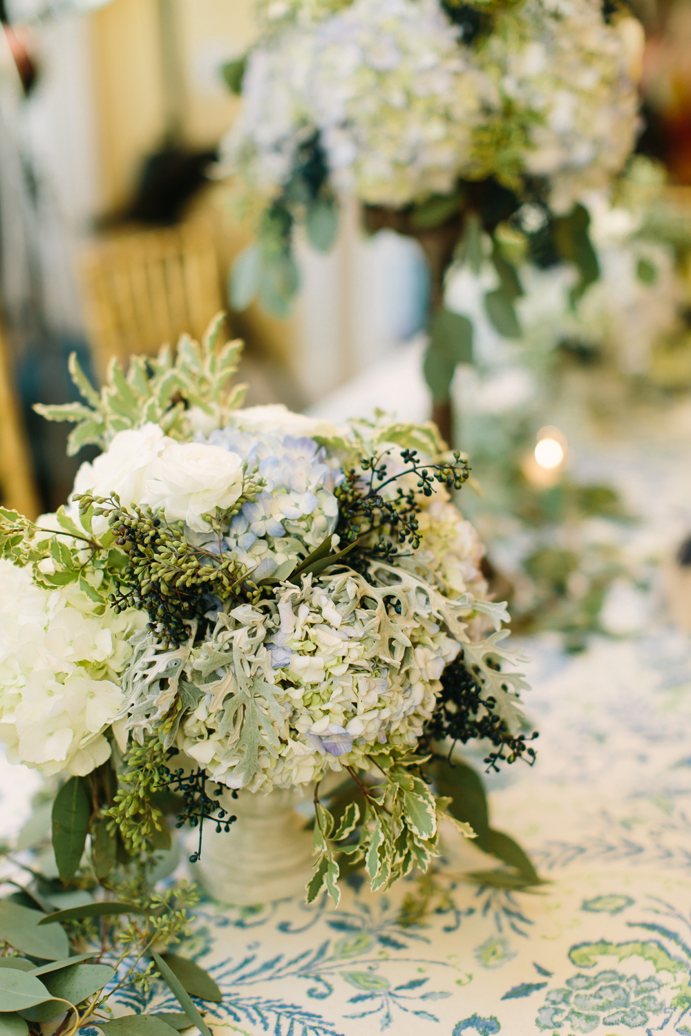 Blue and cream floral centerpieces // Nashville and Franklin, TN wedding flowers
