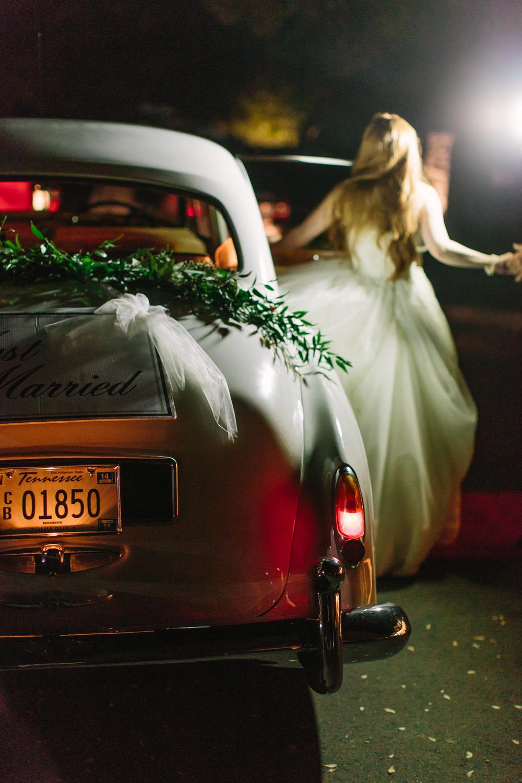 Fairytale Wedding Moment // Getaway car with garland // Franklin, TN Wedding Flowers