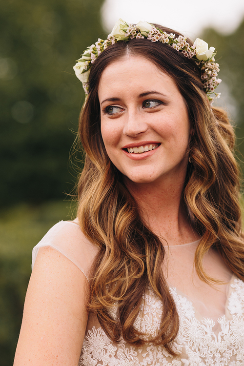 Blush and neutral flower crown