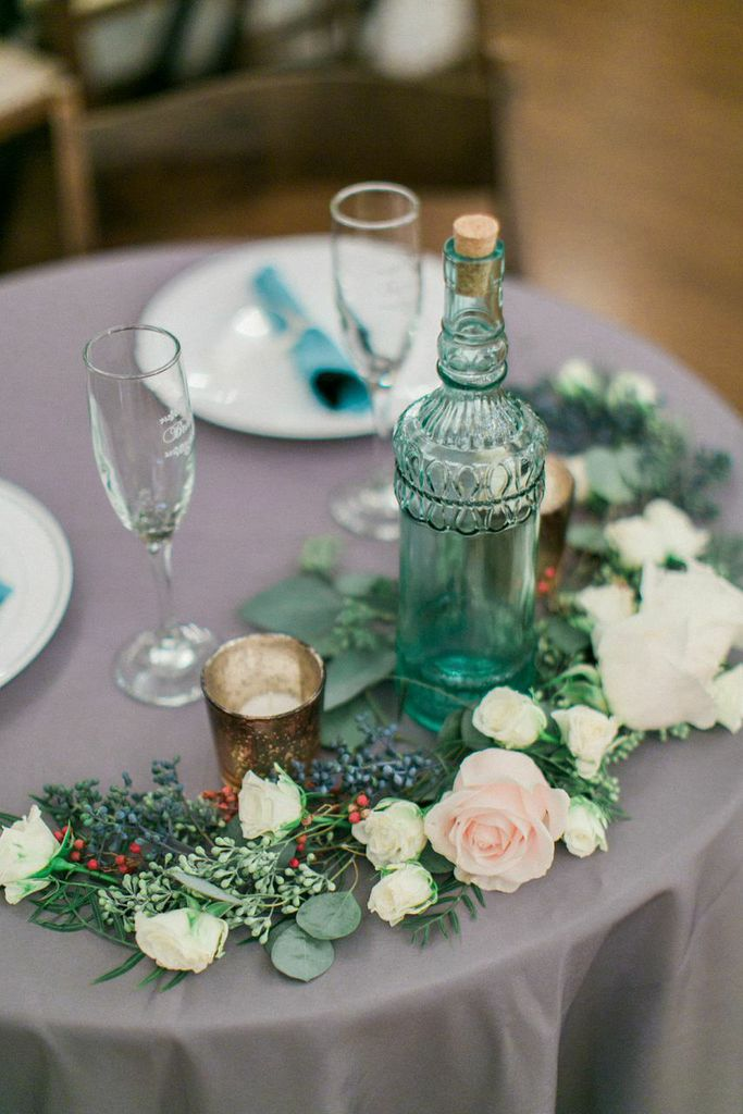 Sweetheart table with floral garland // Nashville Wedding Flowers