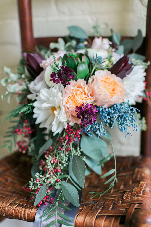 Peach, burgundy, navy, and grey bridal bouquet // Nashville Wedding Florist