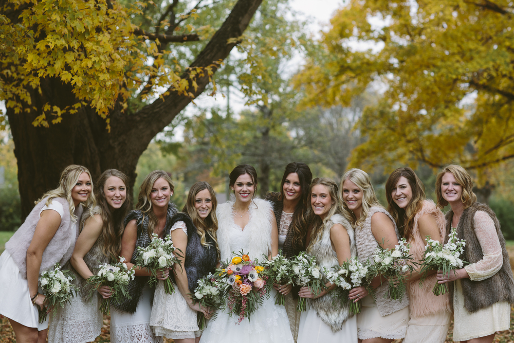 Fall bridesmaids with bohemian bouquets // Nashville Wedding Flowers