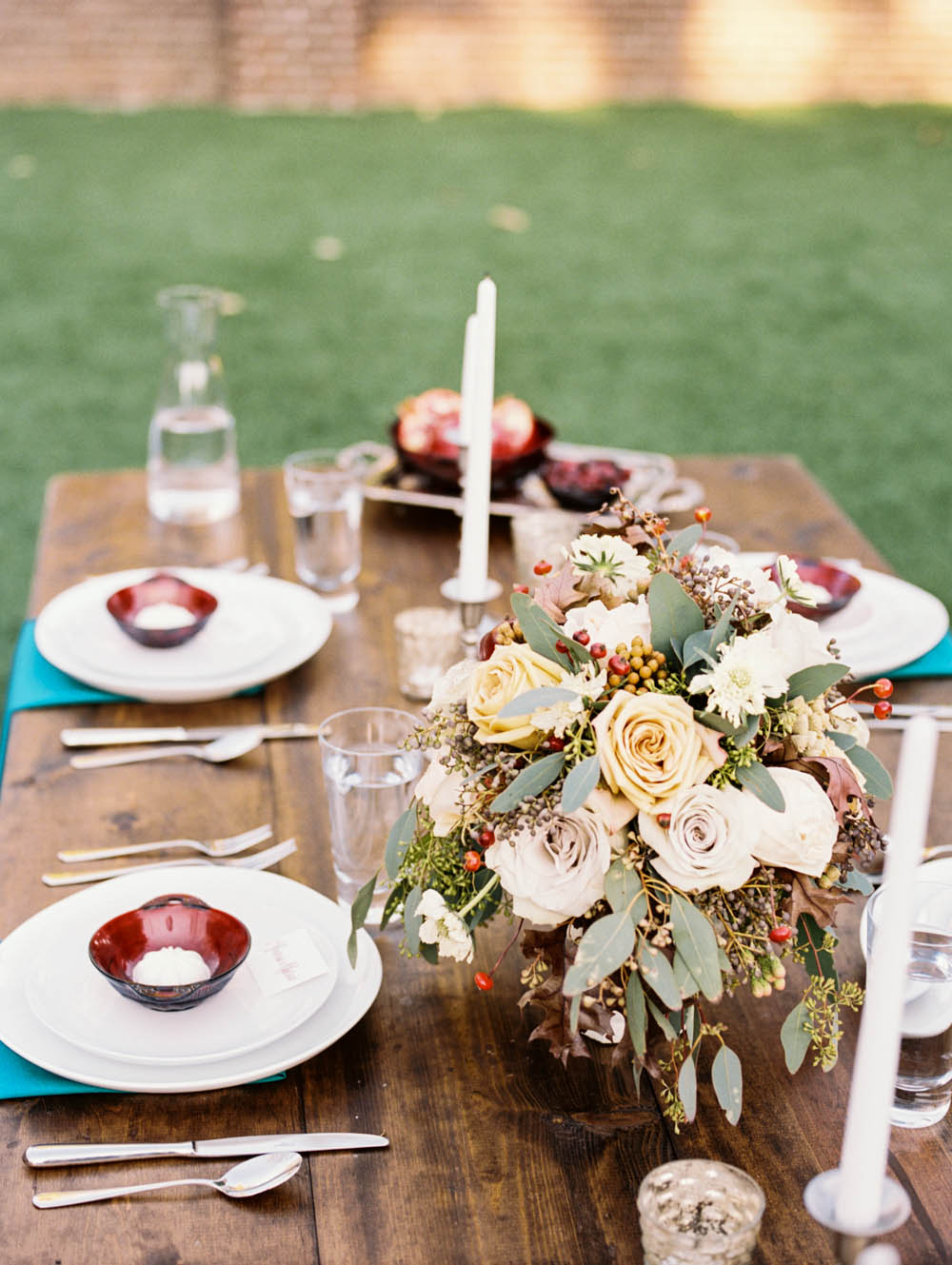 Elegant Teal and Cranberry Tablescape // Nashville Wedding Flowers