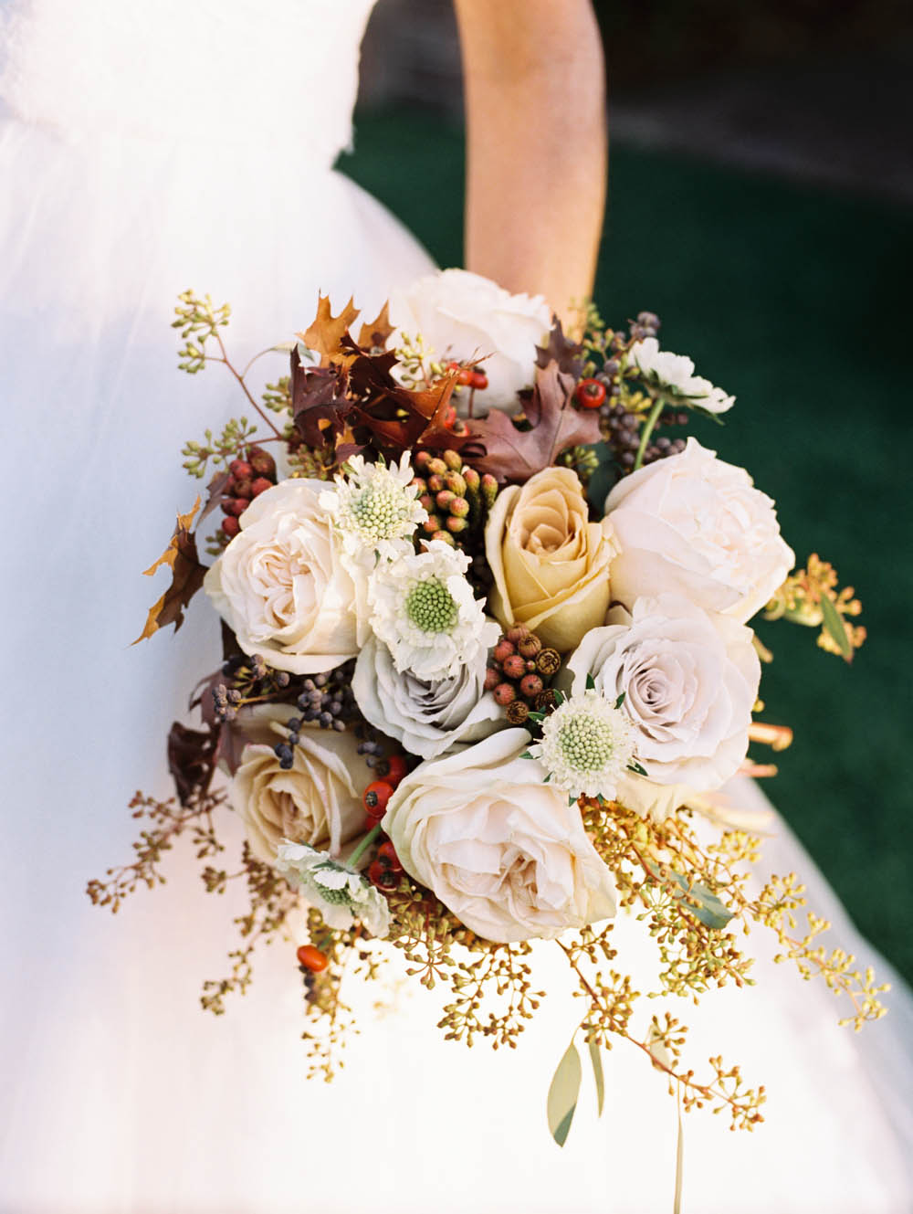 Early Grey Roses with Fall Leaves // Nashville Wedding Florist