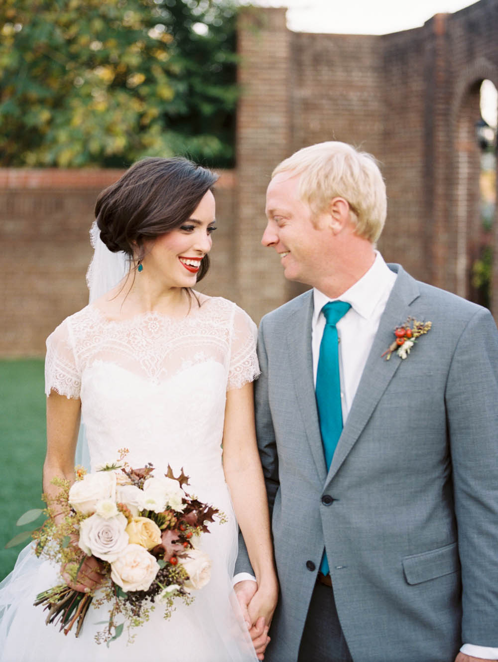 Bride and Groom // Teal and Cranberry Wedding Inspiration
