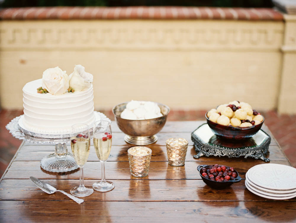 Cranberry and Wood Dessert Table