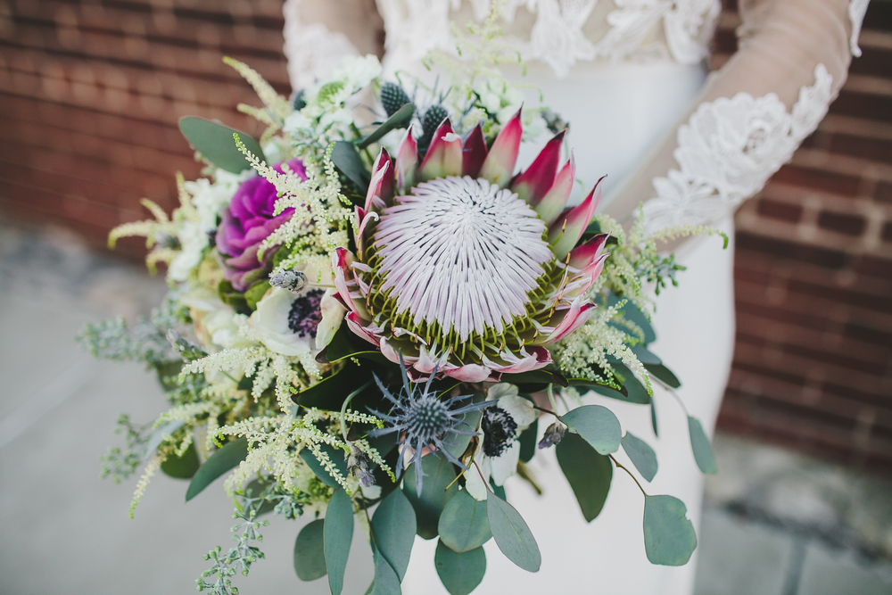 King Protea bride's bouquet // Nashville Wedding Floral Design