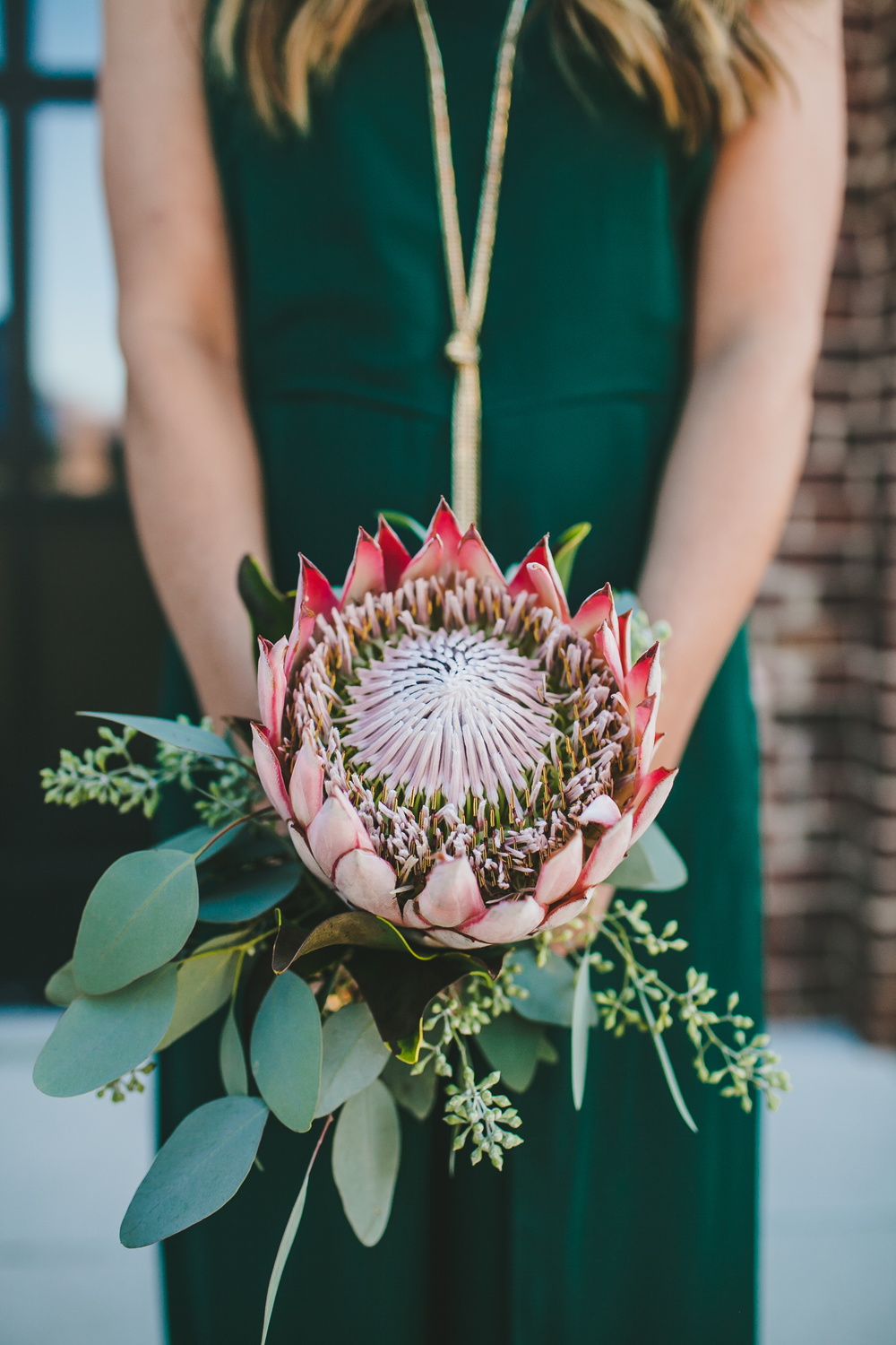 King Protea and Eucalyptus Bridesmaid Bouquet // Nashville Wedding Flowers