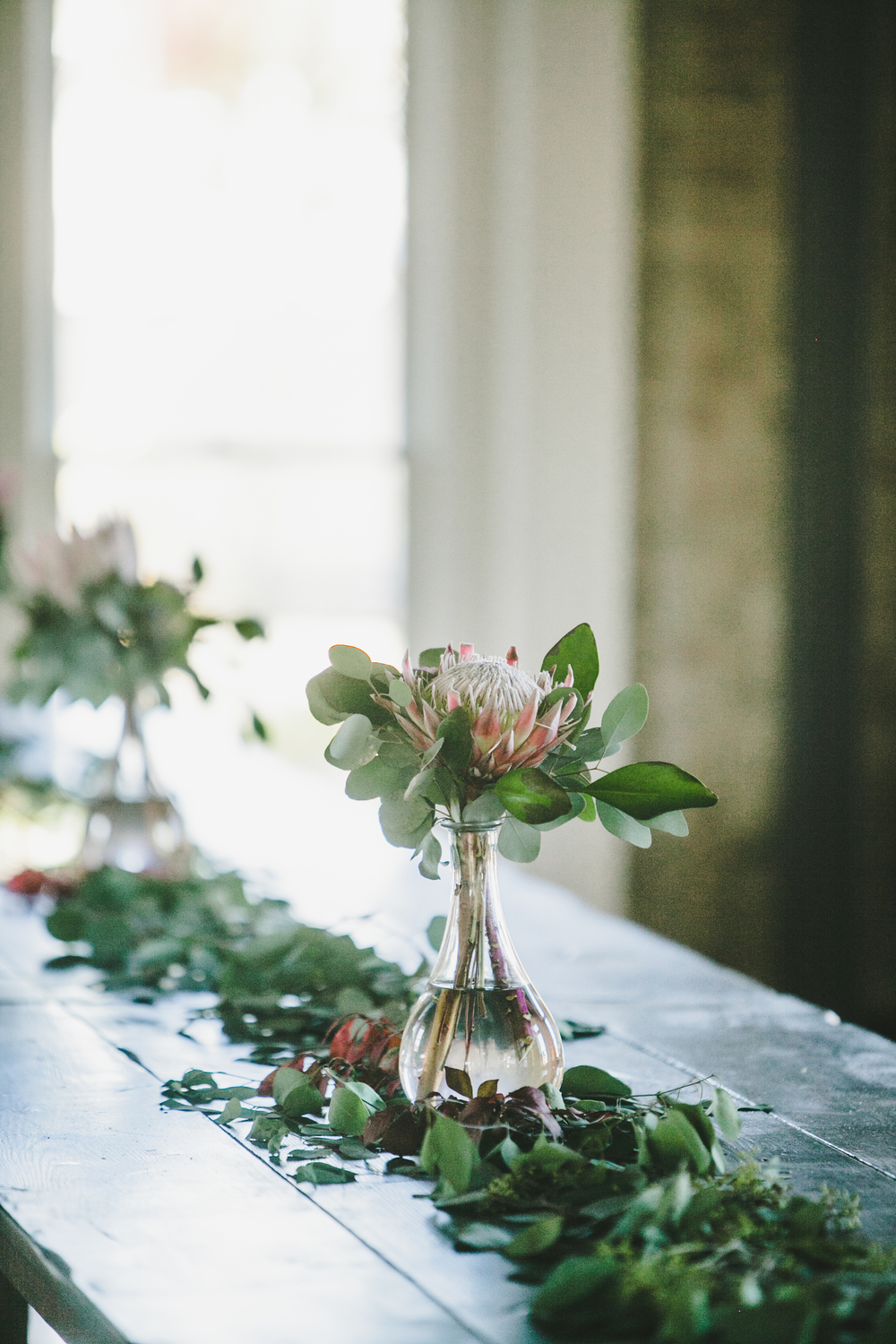 King Protea centerpiece and eucalyptus garland // Nashville Wedding Florist