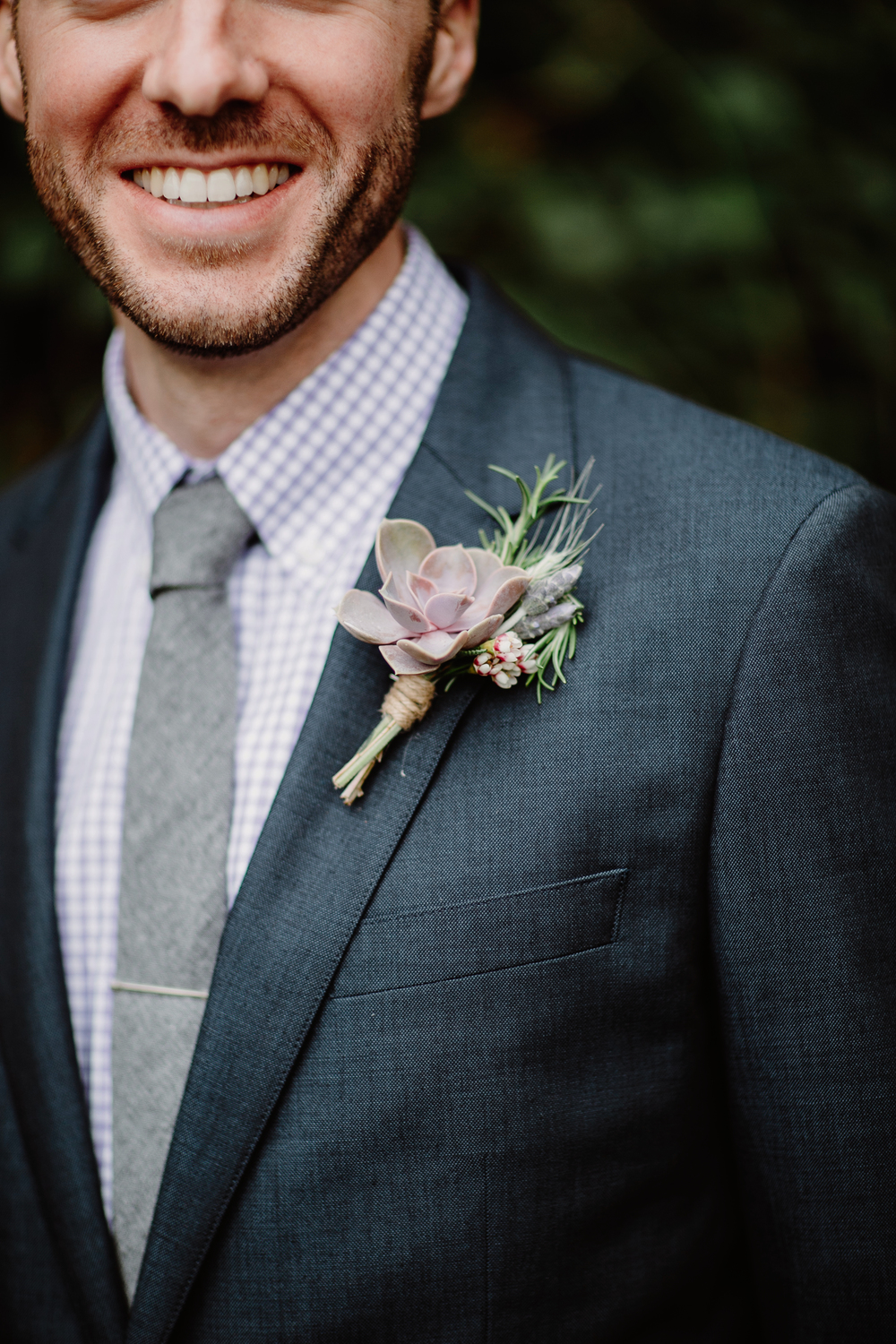 Groom's boutonniere with succulents and lavender // Nashville Wedding Flowers