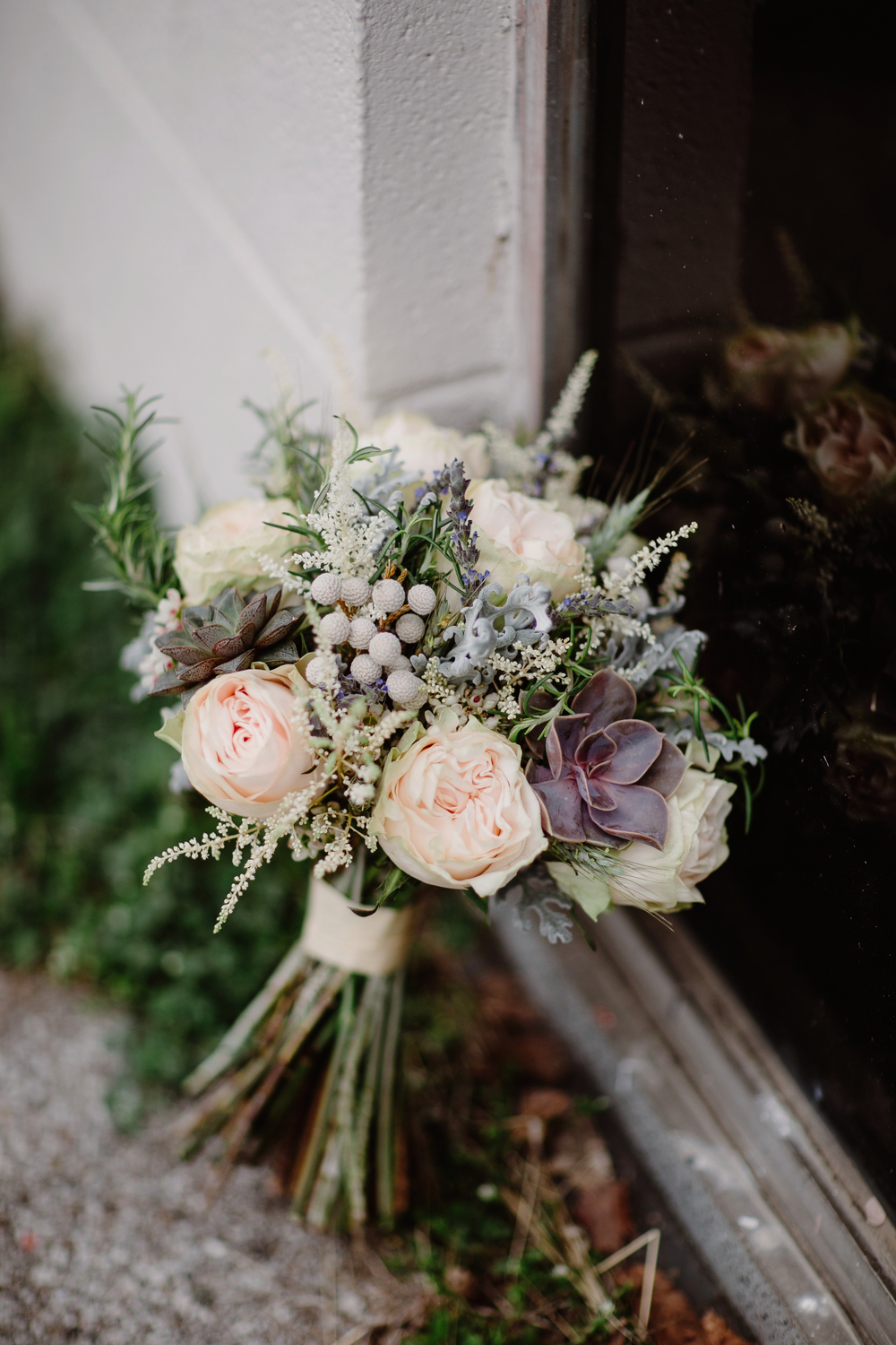 Bouquet of lavender, rosemary, and garden roses // Nashville Wedding Florist