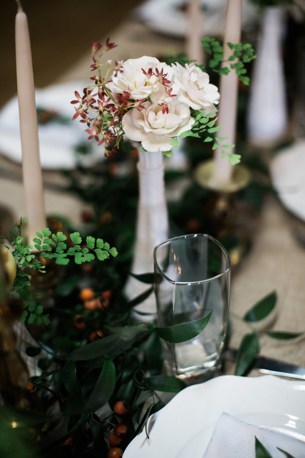 Bud Vases and garland for head table // Nashville Wedding Flowers