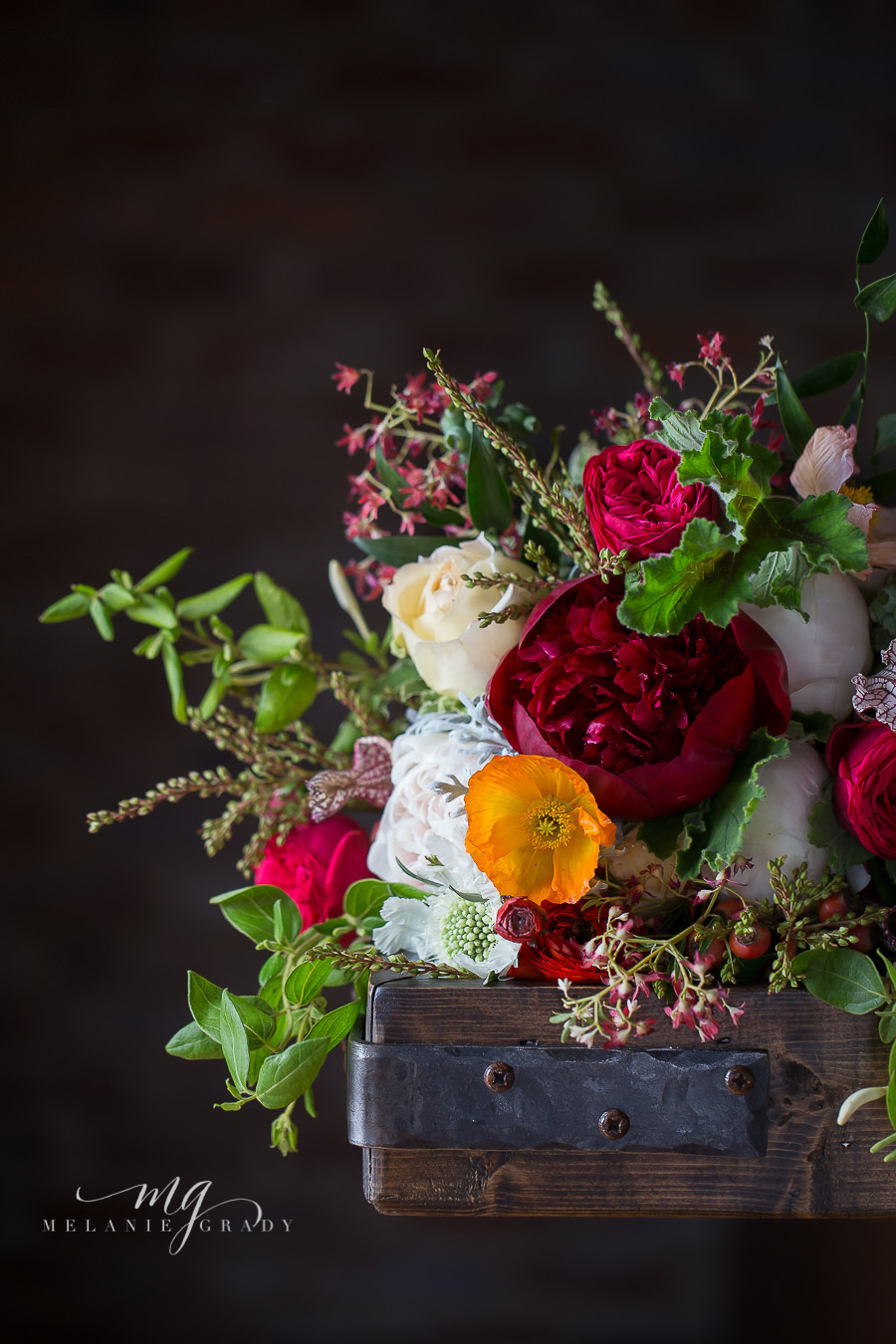 Red peonies, orange poppies, garden roses // Nashville Wedding Florist