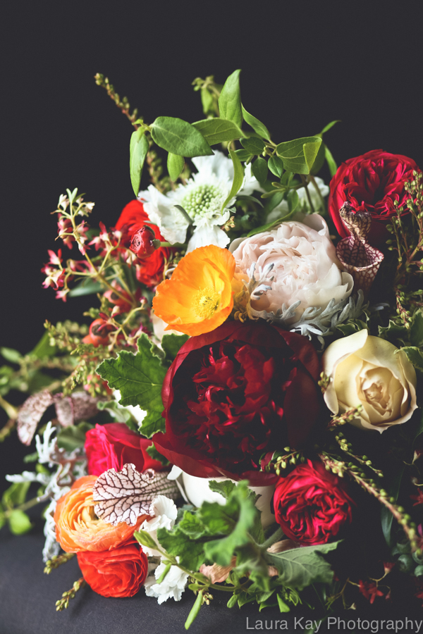Red charm peonies, festival bush, and garden roses // Nashville Wedding Floral Design