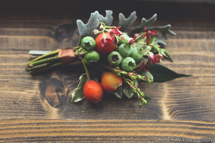 Organic boutonniere with berries and greenery // Nashville Wedding Floral Design