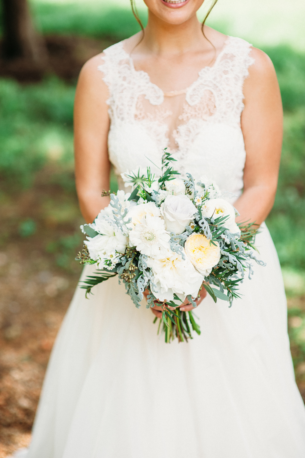 Grey and cream bridal bouquet // Nashville Wedding Florist