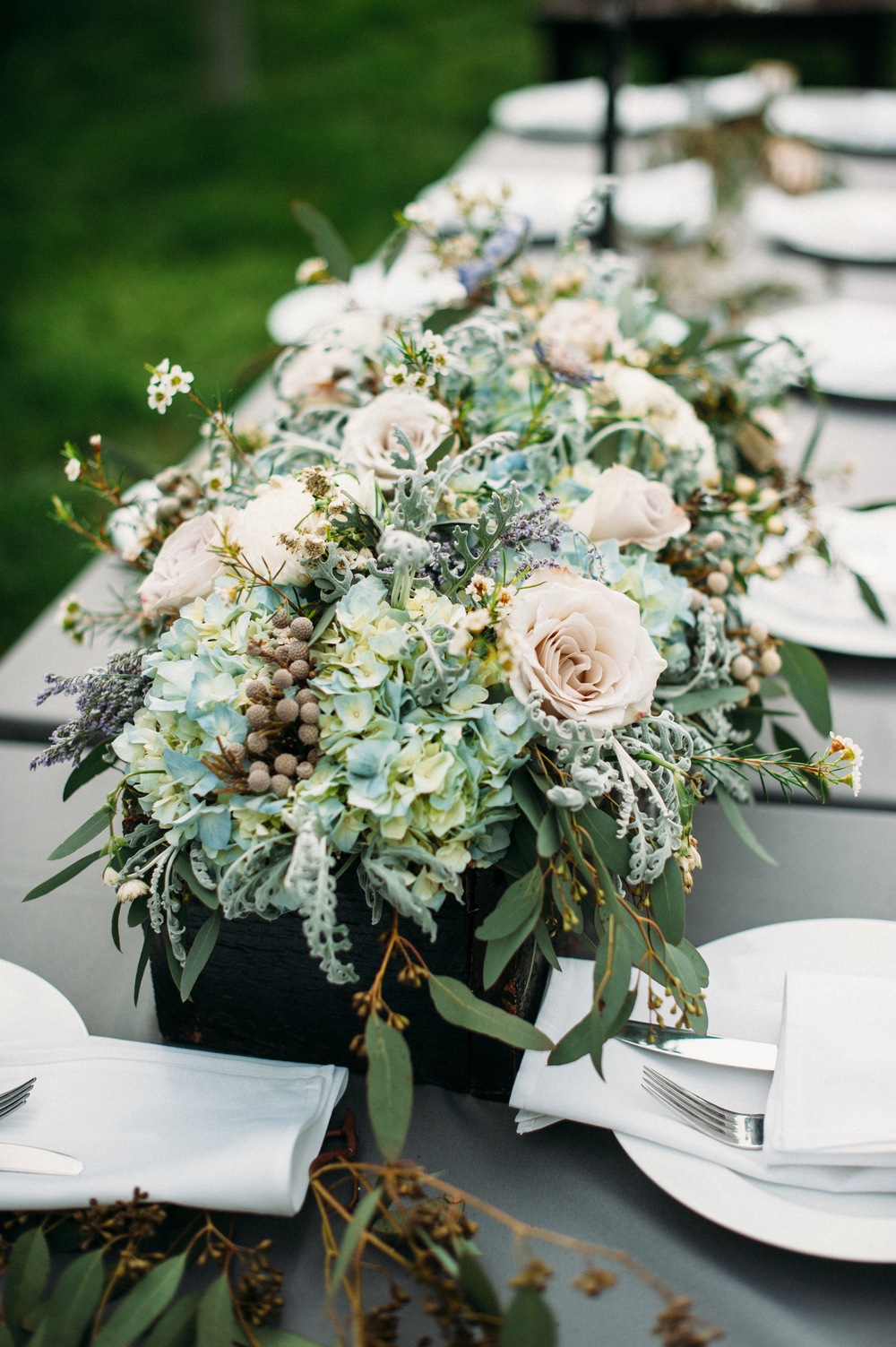 Muted blue and grey floral centerpiece // Nashville Wedding Flowers