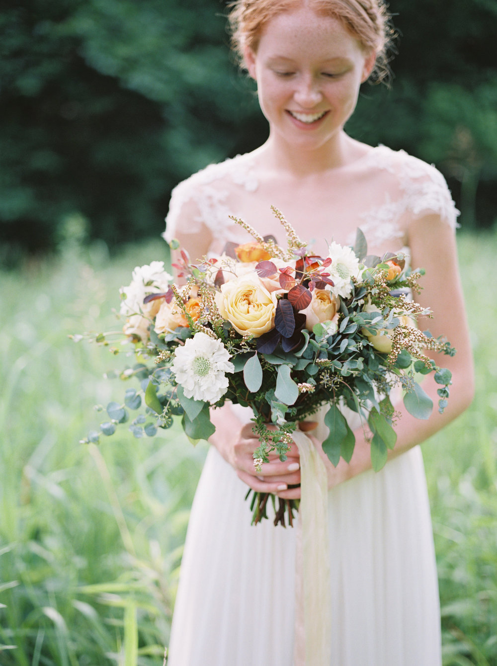 Soft gold and lush greenery bridal bouquet // Nashville Wedding Florist