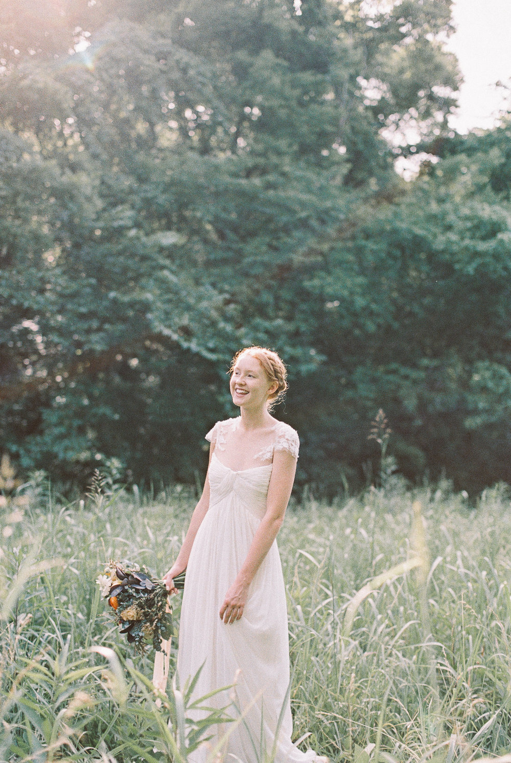 Bridal Portait in a Field // Nashville Wedding Flowers