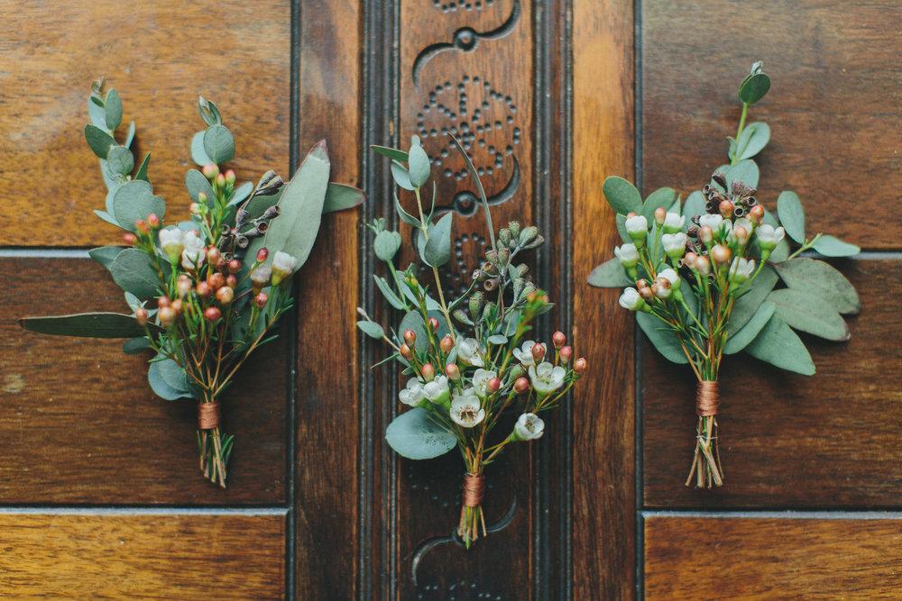 Lush greenery boutonnieres // Nashville Wedding Florist