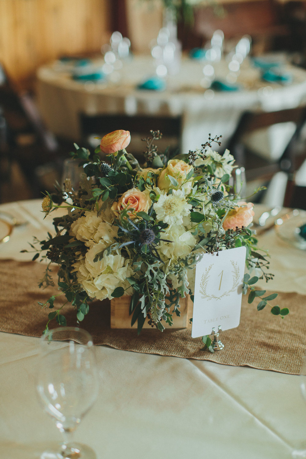 Organic floral arrangement in wooden box // Nashville Wedding Flowers