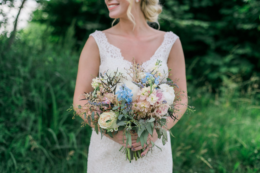 Soft blue and light pink bridal bouquet // Nashville Wedding Florist