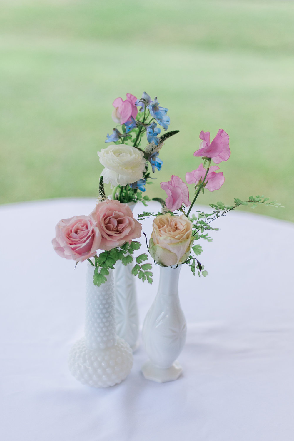 Milk Glass Bud Vases // Nashville Wedding Flowers