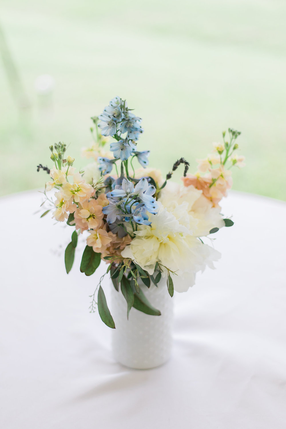 Milk Glass Vases with pastel flowers // Nashville Wedding Florist
