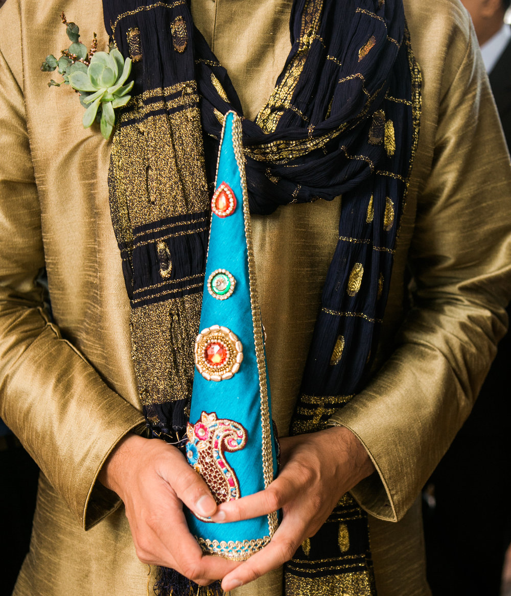 Succulent Boutonniere // Traditional Indian Wedding in Downtown Nashville