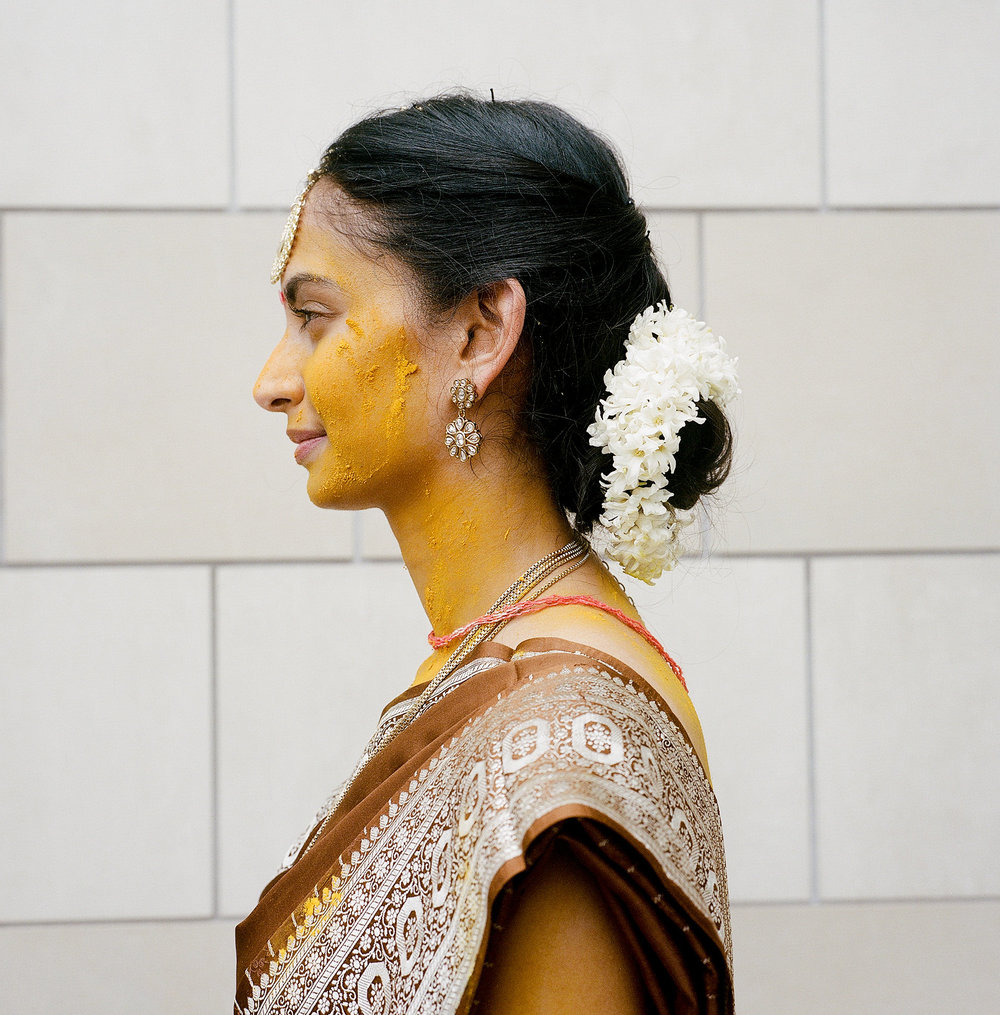 White hyacinth hair garland // Indian Wedding Ceremony in Nashville, TN