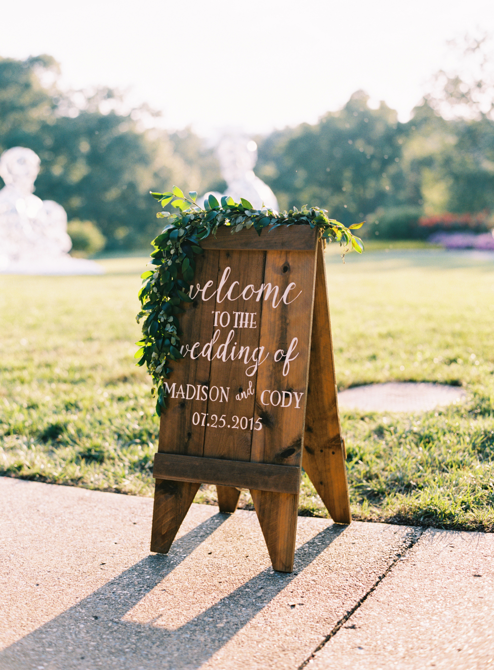 Welcome sign with garland // Southern Floral Design