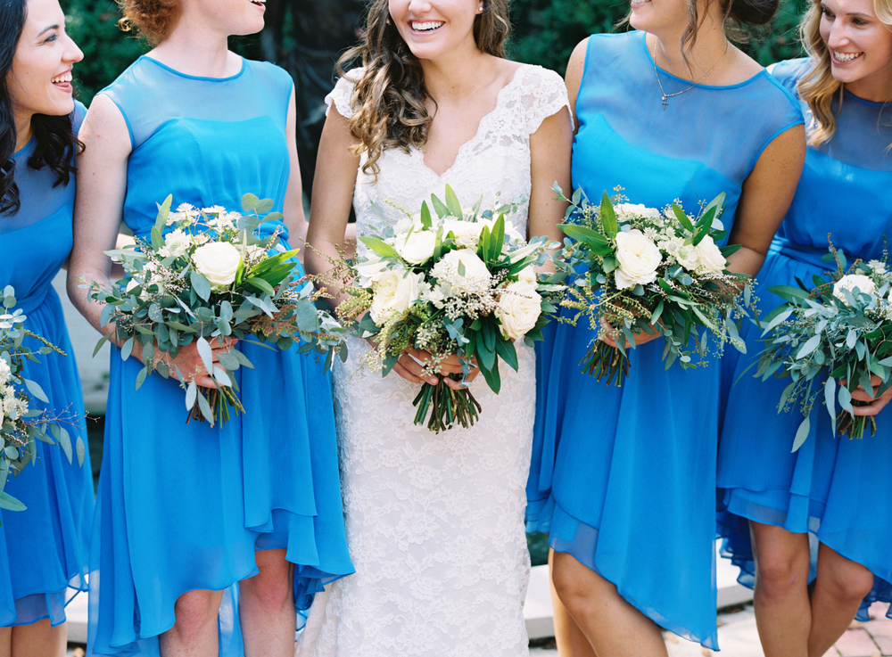 Bridesmaids in Blue // Natural Wedding Flowers