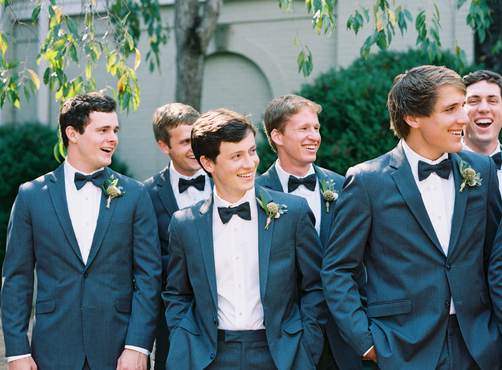Groomsmen with organic boutonnieres // Nashville Wedding Florist