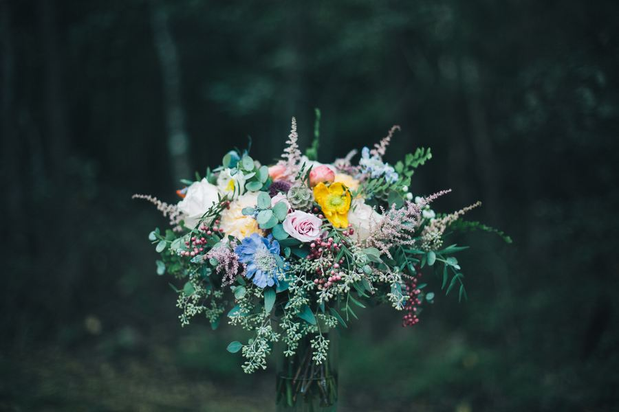 Lush bridal bouquet with poppies, berries, and wildflowers // Nashville Wedding Flowers