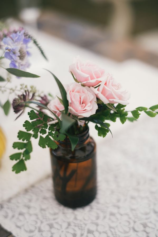 Amber bud vase // Wildflower wedding flowers in Nashville