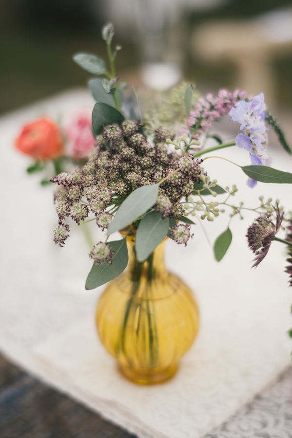 Amber bud vase with wildflowers // Destination Wedding Florist