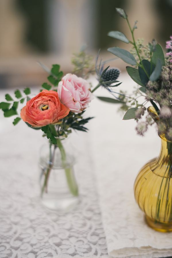 Coral Ranunculus Bud Vase // Destination Lake House Wedding Florist