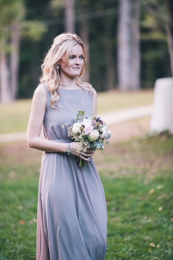Grey bridesmaid dress with neutral florals // Nashville Wedding Florist