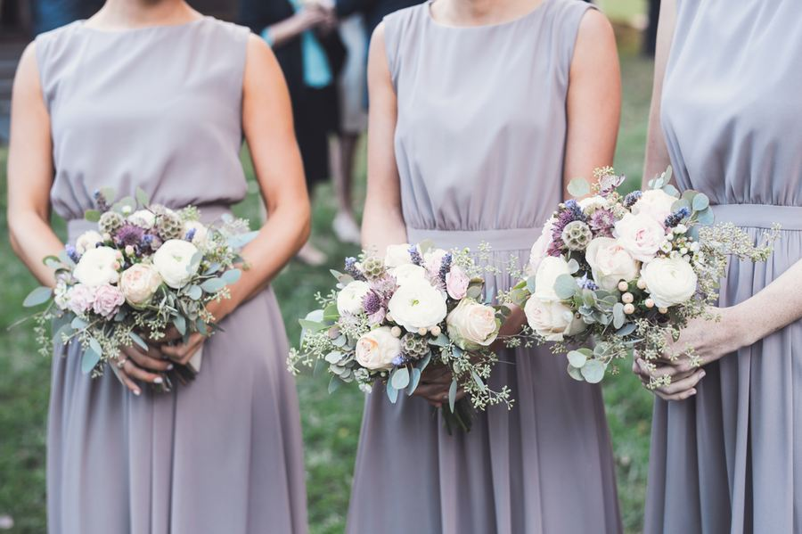 Neutral bridemaid bouquets and grey dresses // Nashville Florist