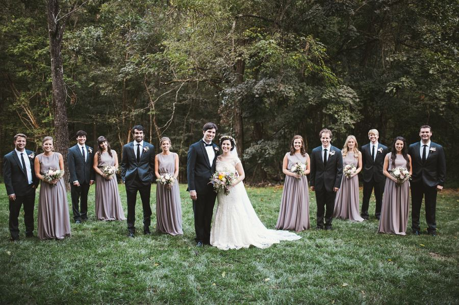 Bridal Party in the woods // Nashville Lake House Wedding