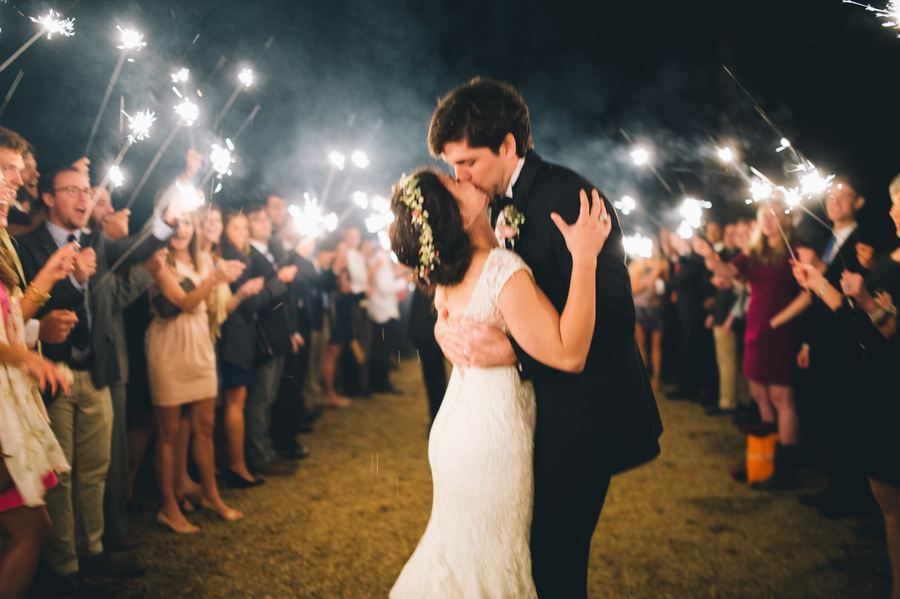 Sparkler exit at Lake House Wedding