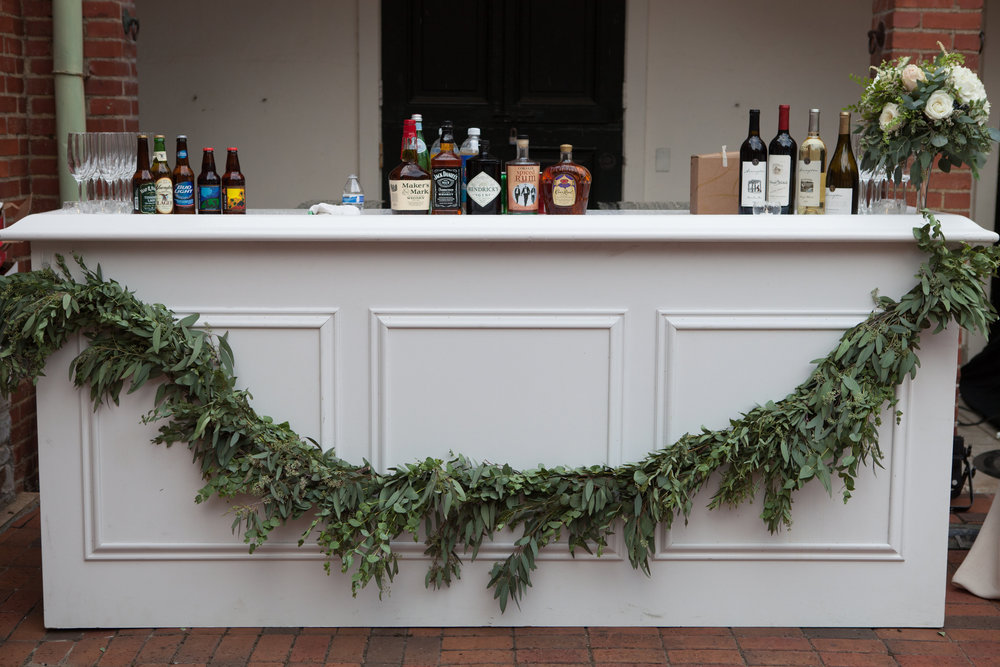 Greenery garland swag for the bar // Destination Florist