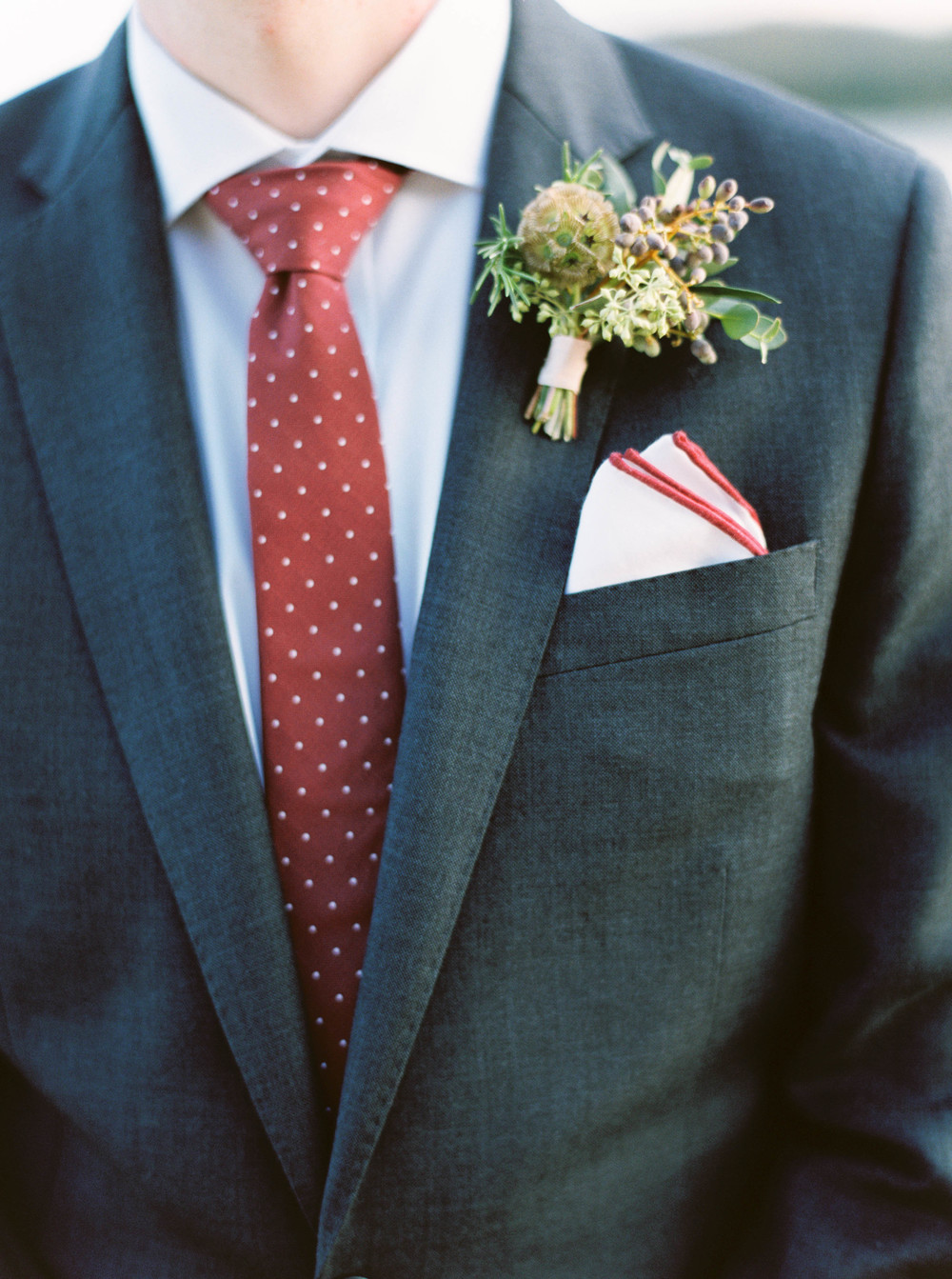 Natural, organic boutonniere with berries and greenery // Nashville Wedding Florist