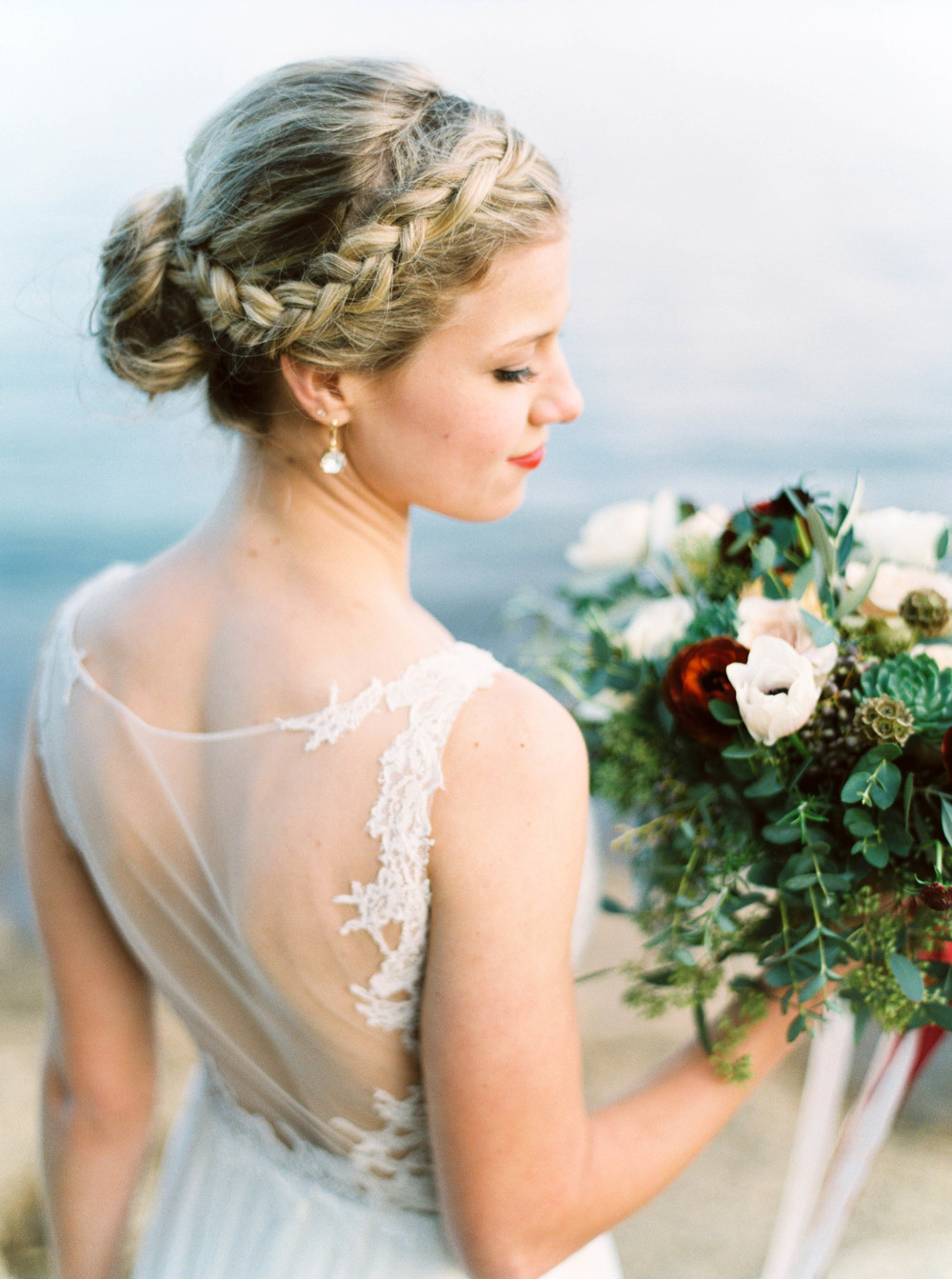 Sheer back wedding dress // Lush bridal bouquet